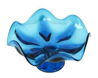 LG 10.5d Viking Glass Bluenique Footed Petal Bowl