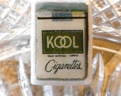 Vintage Wood Cigarette Button, Circa 1942, Rare Collectible Button,  KOOL Cigarette Pack,  metal Loop shank, Wood Button, made after WWII