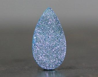 Titanium Druzy, Aquamarine Metallic Blue Gemstone, Flat Back Druzy, Crystallized Stone Cabochon Geode Slice Natural Stone Settings Bead Cab