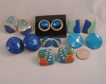 1980s Earrings Collecton of Seven Pair Blue and Turquoise