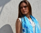 Light Blue silk scarf, aquamarine navy blue scarf, waves of blue, hand painted blue scarf