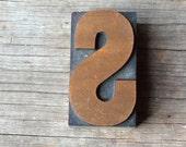 """Printer's Block Antique """"S"""" Letterpress Vintage Wooden Newspaper Wood Printing Die Print Type"""