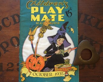 Vintage Halloween Magazine Play Mate October 1935 Crafts Costume Party Ideas Decorations