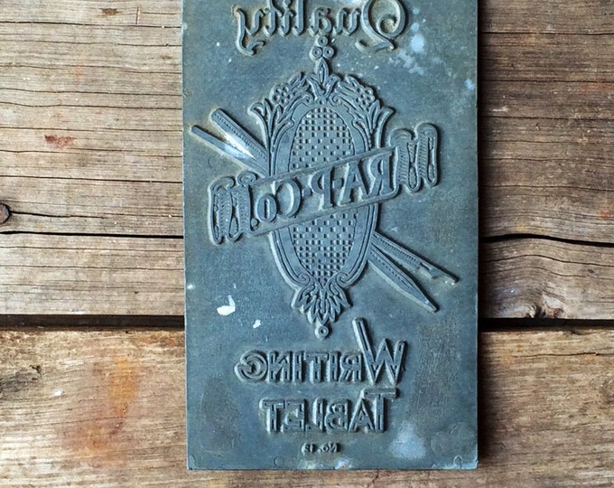 Vintage Writing Tablet Letterpress Large Printing Type Plate