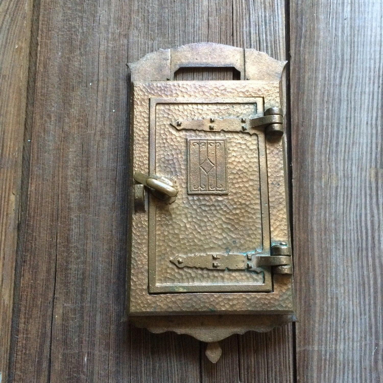 Vintage brass door knocker speakeasy viewer antique peephole hardware from veraviola on etsy studio - Door knocker with peep hole ...