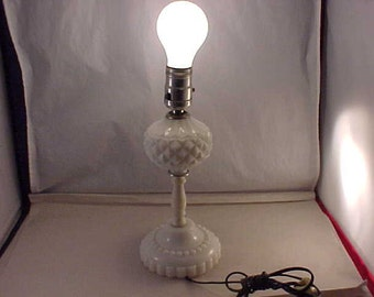 White Milkglass Dresser Lamp