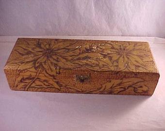 Flemish Art Wood Box Dresser Box Hankie Box Glove Box