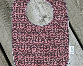 Messy Eaters big bib-pink and grey damask