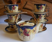 Vintage Teapot set Cups Saucers English pottery wood handle pot espresso small teacups set of 6 Cottage French country