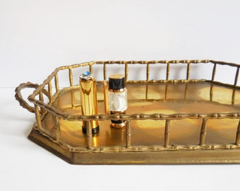Vintage brass tray Bamboo rail Perfume Vanity Serving tray Asian oriental Aged brass