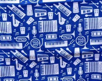 Lounge pants pajama dorm flannel made to order your choice size XS - 2X blue musical instruments print