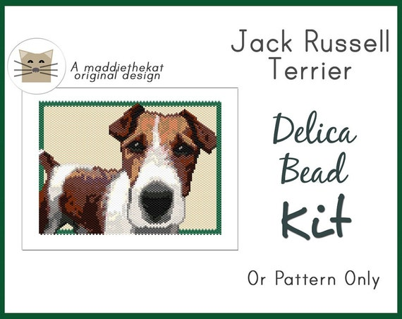 Knitting Pattern For Jack Russell Dog : Jack Russell Terrier Dog Larger Panel Peyote Seed Bead Pattern PDF or KIT DIY...