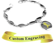 Yellow Ribbon Awareness Bracelet, Engraved, Stainless Steel Drops - R1Y-Ai5