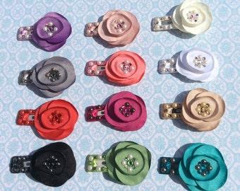 Chiffon Rose flower Swarovski Crystal hair clip children's baby handmade many colors