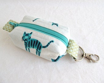 Boxy Little Pouch Key Chain, Lobster Clasp - Aqua Cats