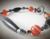 Tribal Horn Bracelet ~ Natural Horn, Orange Agate, Hematite, Boho, Southwestern, Statement Jewelry, Gift for Her