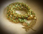 Woven Leather and Chain Convertable Wrap Bracelet or Necklace ~ Tassle, Charm, Boho, Gift for Her