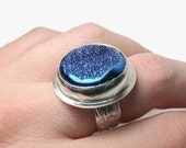 Cobalt blue druzy ring sterling silver ring silver gemstone ring statement ring cocktail ring Etsy jewelry