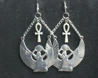 Silver Egyptian Isis Goddess and Ankh Earrings
