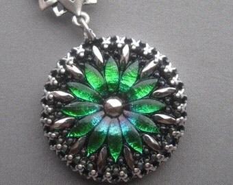 Green Necklace - Flower Necklace - Flower Pendant - Emerald Jewelry - Flower Jewelry - Czech Glass - Emerald Necklace - Glass Necklace