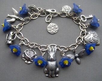 Rabbit Bracelet - Bunny Bracelet - Rabbit Jewelry - Charm Bracelet - Spring Jewelry - Animal Jewelry - Bunny Rabbit - Blue Flower Bracelet