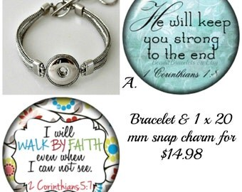 Snap Bracelet w/ 1 x 20 mm 1 Corinthians 5 7 or 1 Corinthians 1 8 Snap charm that fits Ginger Snaps Jewelry or Noosa Bracelets.