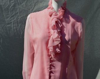 Vintage 70's ruffle blouse top pink sheer polyester Sacks Fifth Aveneu sM blouse by thekaliman