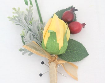 Groom, Groomsmen Wedding Boutonniere - Yellow Rose Boutonniere, Red Rose Hips Boutonniere, Father of the Bride, Yellow Rose Buttonhole
