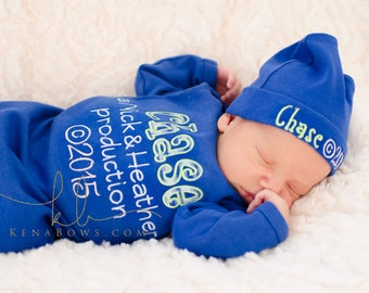 New Baby Boy Outfit, Personalized Parent Production, Birth Announcement, Blue Baby Boy Gown, Baby Shower Gift, Personalized Cotton Hat