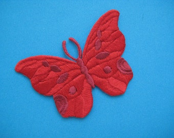 Iron-on Embroidered Patch RED Butterfly 2.75 inch