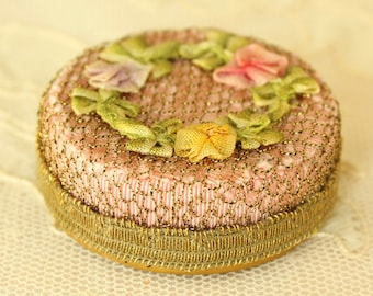 Antique 1920's French Ribbon Work Flowers Powder Box