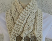 Cabled Buttoned Neck Warmer in Fisherman (Cream), Oatmeal (Beige) or Barley (Brown) READY TO SHIP