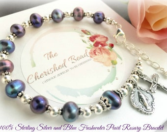 100% Sterling Silver and Blue Freshwater Pearl Catholic Rosary Bracelet