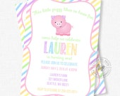 Pig Birthday Invitation, Pig Party Invite, Girl Birthday Invitation, Pastel Invitation, Farm Birthday