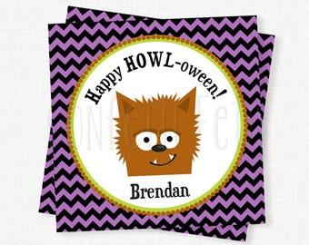 Wolf Halloween Tag, Halloween Favor Tags, Halloween Candy Labels, Trick or Treat Tag, Wolf Halloween Party, Personalized