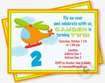 Helicopter Birthday Invitation, Transportation Birthday Invitation, Second Birthday Invitation, Boy Birthday Invitation