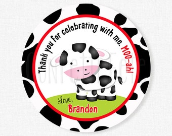 Cow Birthday Party Favors, Barnyard Favor Tags, Cow Favor Tag Personalized
