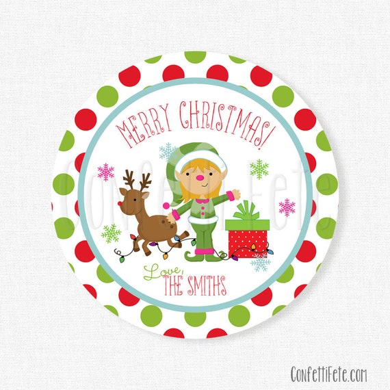 Elf with Gift (white background) Printable Gift Tag  |Christmas Elf Tag