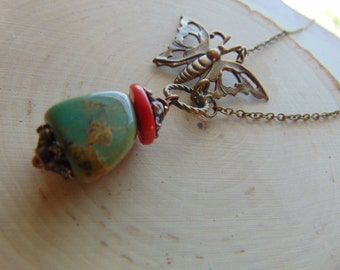 Super Sale Brass Buterrfly And Turquoise Necklace