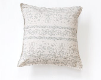 Blue Floral in Cream Hazelnut Throw Pillow Covers, 16 x 16 inches