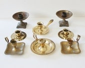 Vintage 70s Instant Collection 8 Low Brass Candlestick Holders Lot, wedding decor, home decor, short, props