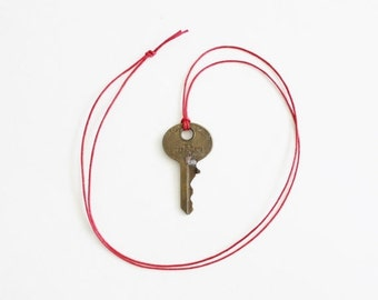 50% half off sale // Vintage National Key Co M1 Cleveland Ohio Upcycled Necklace on Waxed Red Cord