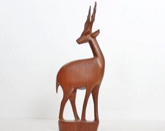 back to school sale // Vintage 60s Hand Carved Wood Gazelle - Made in Kenya, mid century design