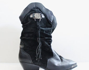 30% off sale // Vintage 80s South West Cowboy Boots // black leather // women 12M // cowgirl, Coasters