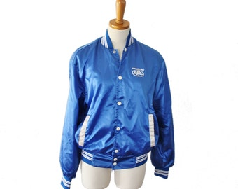 Vintage 70s RARE Blue Satin Sugar Free Dr Pepper Snap Button Jacket - Men S Women M - Horizon