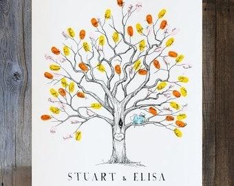 ON SALE Fingerprint Tree, Wedding Guest Book Alternative, Baby Shower Guest Book Alternative, XS Twisted Oak Design (For 15-35 fingerprints)