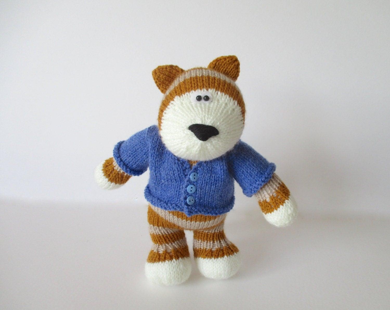 Tabby cat toy knitting pattern by fluffandfuzz on Etsy