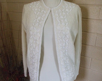 Vic & Vic Haute Couture -  White Beaded Sweater/Top - 1950's/1960's - Lambs Wool - Angora - Vintage - Designer - Gifts -#1667