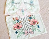 Vintage white linen with embroidery/pillowcase/table runner/ pink flowers/pastel pink/shabby flowers