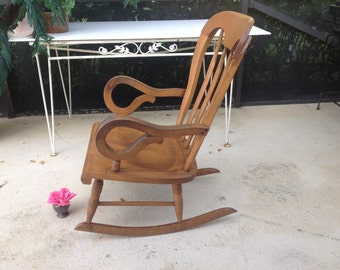 MID CENTURY MODERN Rocking Chair Vintage Slat Back Rocker with Scroll Arms Danish Mid Century Modern Style at Retro Daisy Girl